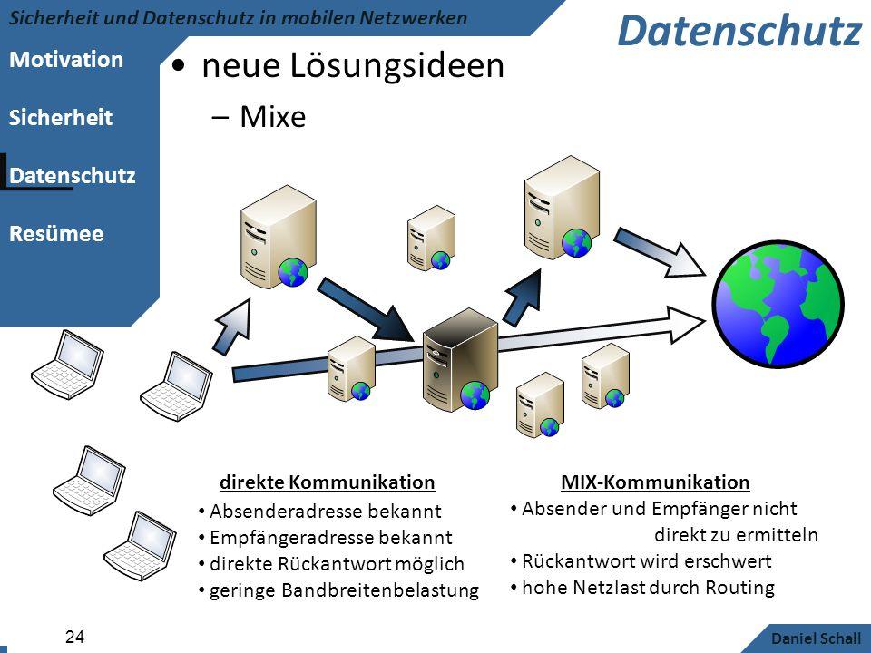 Motivation Sicherheit Datenschutz Resümee Sicherheit und Datenschutz in mobilen Netzwerken Daniel Schall 24 Datenschutz neue Lösungsideen –Mixe Absend