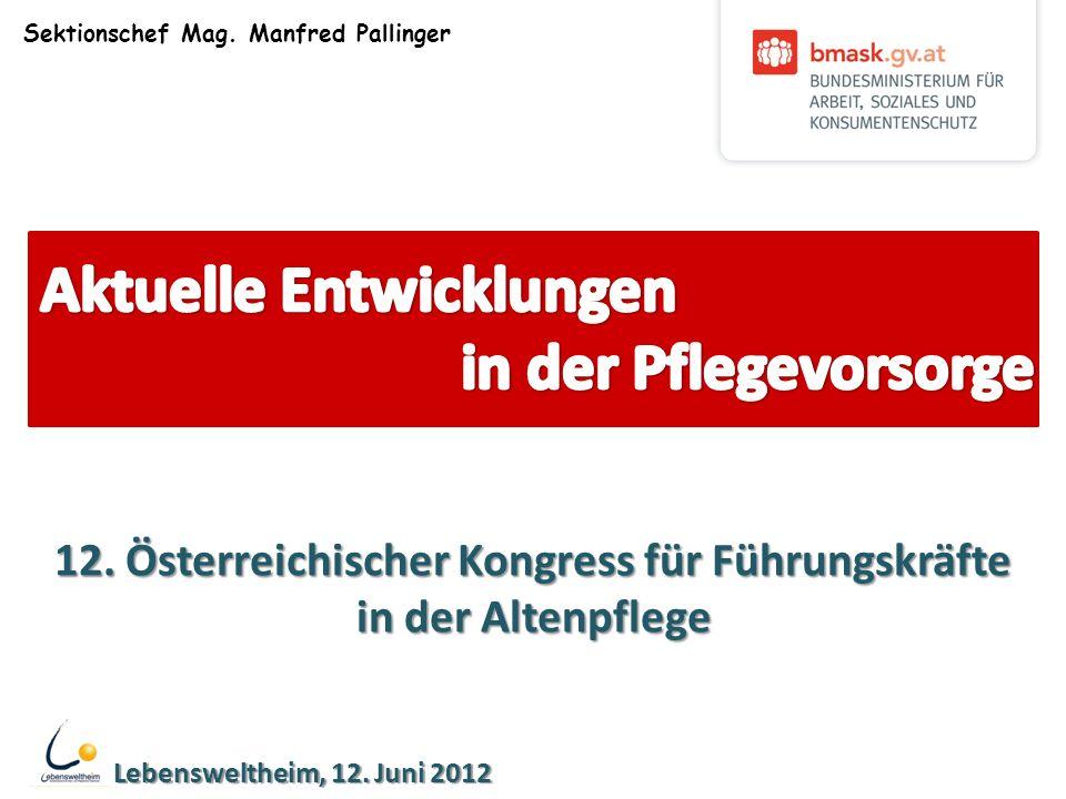 Sektionschef Mag. Manfred Pallinger Lebensweltheim, 12. Juni 2012 12. Österreichischer Kongress für Führungskräfte in der Altenpflege
