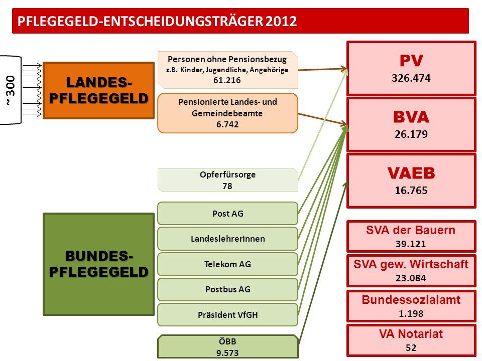 PFLEGEGELD-ENTSCHEIDUNGSTRÄGER 2012 LANDES-PFLEGEGELD BUNDES-PFLEGEGELD PV 326.474 VAEB 16.765 BVA 26.179 Bundessozialamt 1.198 VA Notariat 52 SVA der