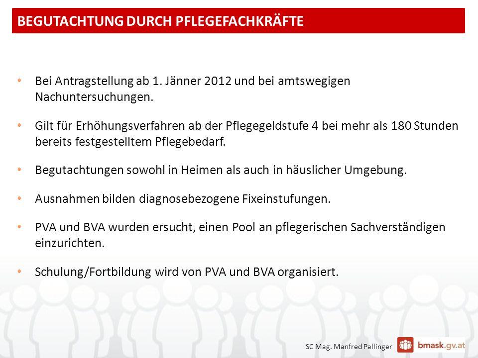 SC Mag. Manfred Pallinger Bei Antragstellung ab 1. Jänner 2012 und bei amtswegigen Nachuntersuchungen. Gilt für Erhöhungsverfahren ab der Pflegegeldst