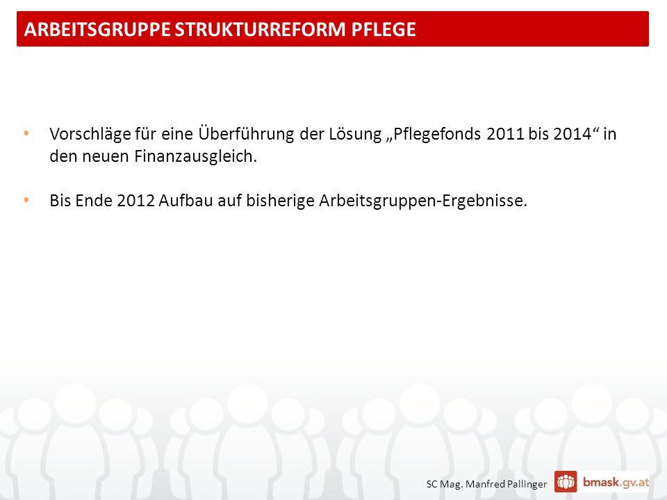 SC Mag. Manfred Pallinger Vorschläge für eine Überführung der Lösung Pflegefonds 2011 bis 2014 in den neuen Finanzausgleich. Bis Ende 2012 Aufbau auf