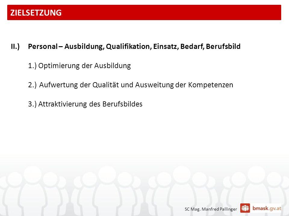 II.)Personal – Ausbildung, Qualifikation, Einsatz, Bedarf, Berufsbild 1.) Optimierung der Ausbildung 2.)Aufwertung der Qualität und Ausweitung der Kom