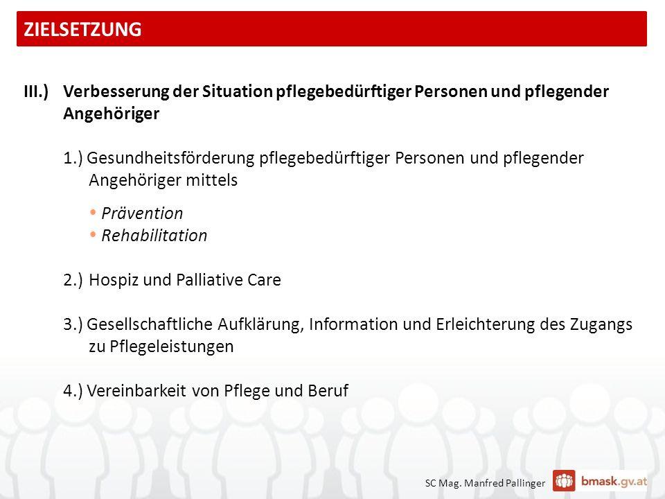 III.)Verbesserung der Situation pflegebedürftiger Personen und pflegender Angehöriger 1.) Gesundheitsförderung pflegebedürftiger Personen und pflegend