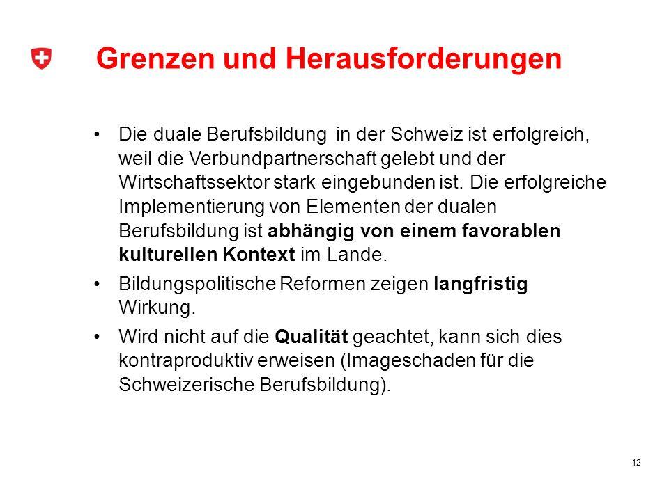 Grenzen und Herausforderungen Die duale Berufsbildung in der Schweiz ist erfolgreich, weil die Verbundpartnerschaft gelebt und der Wirtschaftssektor s