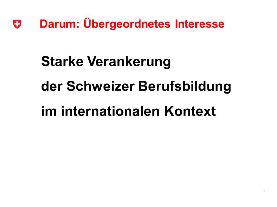 Darum: Übergeordnetes Interesse Starke Verankerung der Schweizer Berufsbildung im internationalen Kontext 5