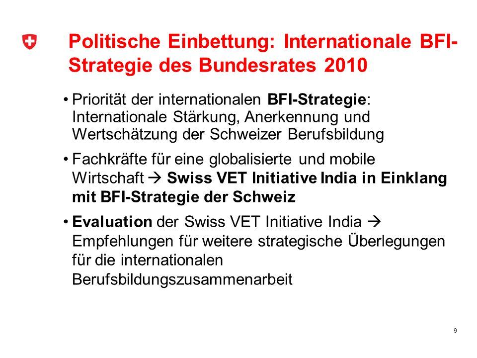 Ausblick Konkretisierung der vom Bundesrat 2010 verabschiedeten internationalen BFI-Strategie für den Bereich der Berufsbildung Was soll im Berufsbildungsbereich wie mit welchen Partner in welchen Zielländern gemäss welchen Prioritäten umgesetzt werden.