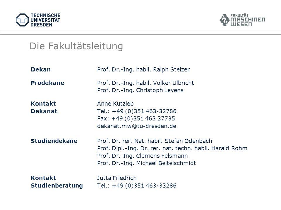 Die Fakultätsleitung Dekan Prof.Dr.-Ing. habil. Ralph Stelzer ProdekaneProf.