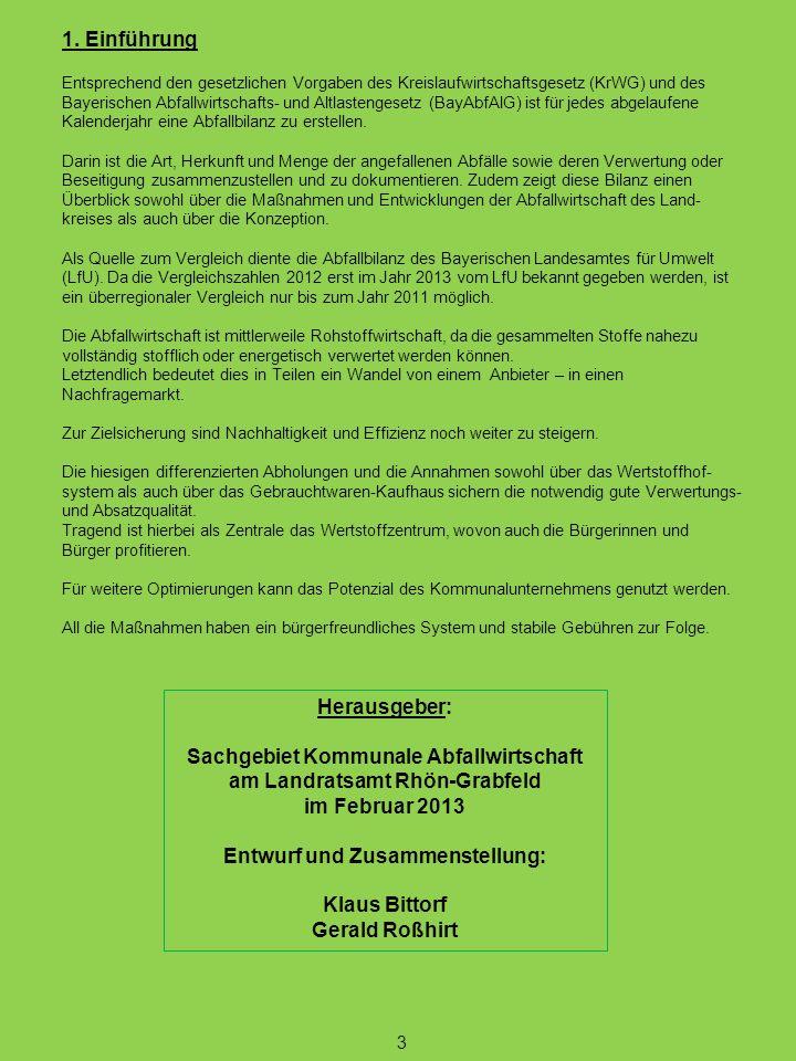 1. Einführung Entsprechend den gesetzlichen Vorgaben des Kreislaufwirtschaftsgesetz (KrWG) und des Bayerischen Abfallwirtschafts- und Altlastengesetz