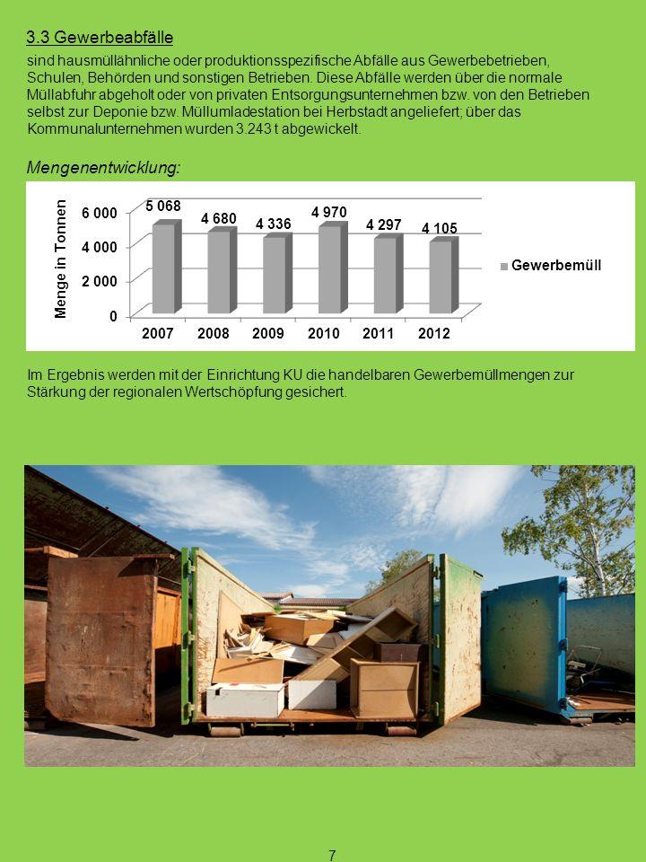 3.3 Gewerbeabfälle sind hausmüllähnliche oder produktionsspezifische Abfälle aus Gewerbebetrieben, Schulen, Behörden und sonstigen Betrieben. Diese Ab