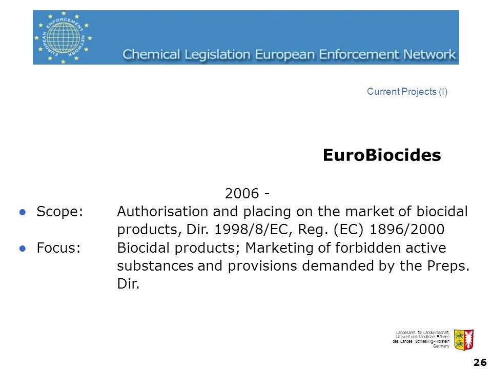 Landesamt für Landwirtschaft, Umwelt und ländliche Räume des Landes Schleswig-Holstein Germany 26 2006 - Scope:Authorisation and placing on the market of biocidal products, Dir.