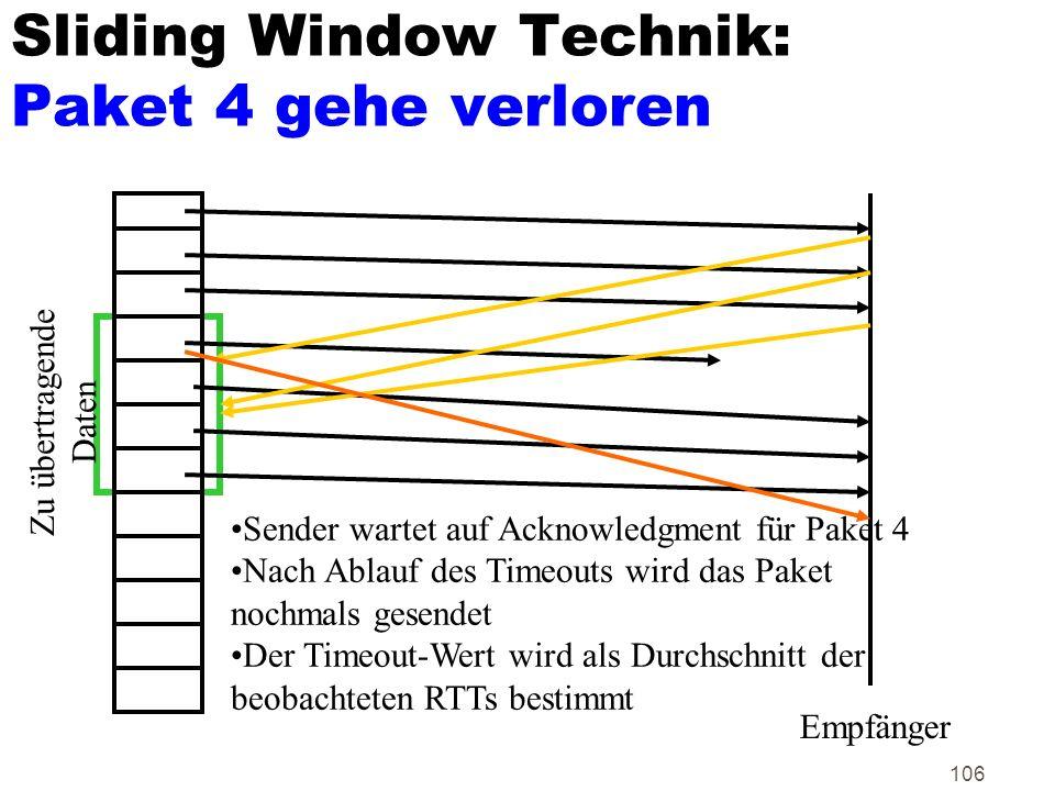 106 Sliding Window Technik: Paket 4 gehe verloren Zu übertragende Daten Empfänger Sender wartet auf Acknowledgment für Paket 4 Nach Ablauf des Timeout