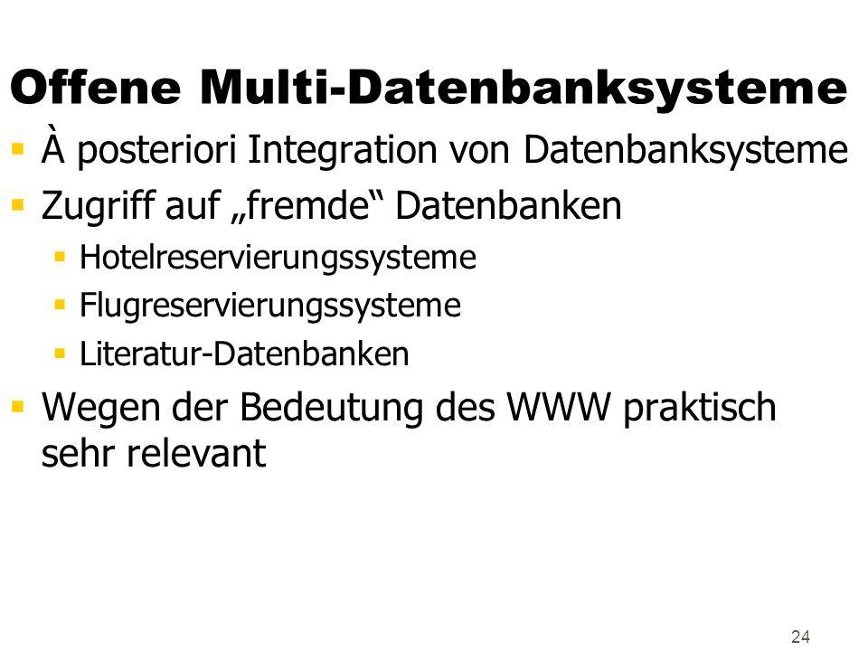 24 Offene Multi-Datenbanksysteme À posteriori Integration von Datenbanksysteme Zugriff auf fremde Datenbanken Hotelreservierungssysteme Flugreservieru