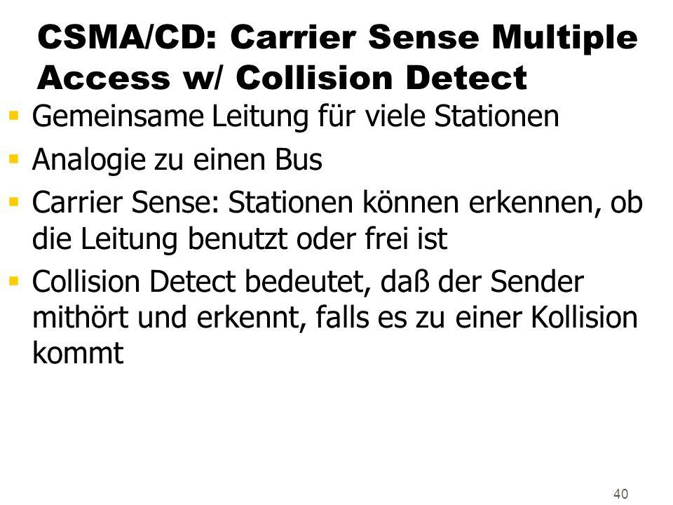 40 CSMA/CD: Carrier Sense Multiple Access w/ Collision Detect Gemeinsame Leitung für viele Stationen Analogie zu einen Bus Carrier Sense: Stationen kö
