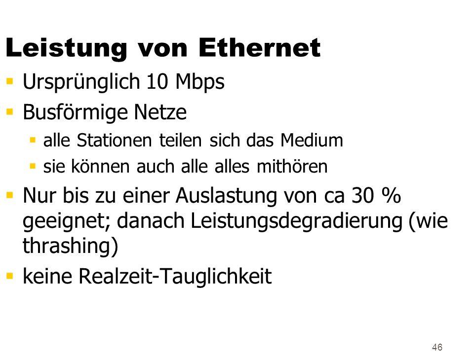 46 Leistung von Ethernet Ursprünglich 10 Mbps Busförmige Netze alle Stationen teilen sich das Medium sie können auch alle alles mithören Nur bis zu ei