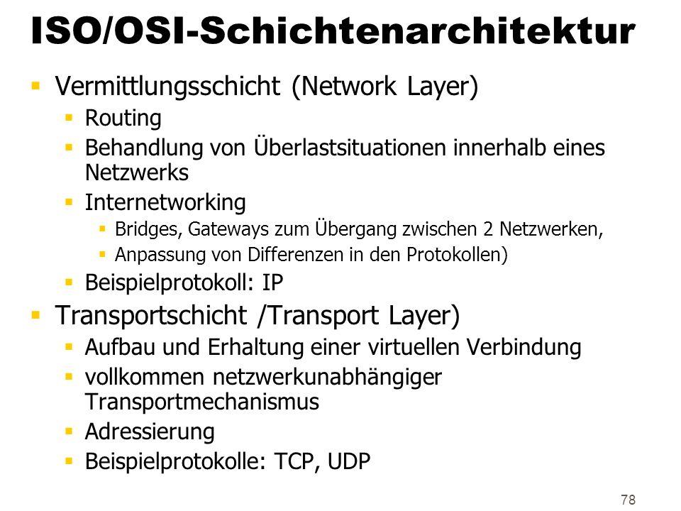 78 ISO/OSI-Schichtenarchitektur Vermittlungsschicht (Network Layer) Routing Behandlung von Überlastsituationen innerhalb eines Netzwerks Internetworki