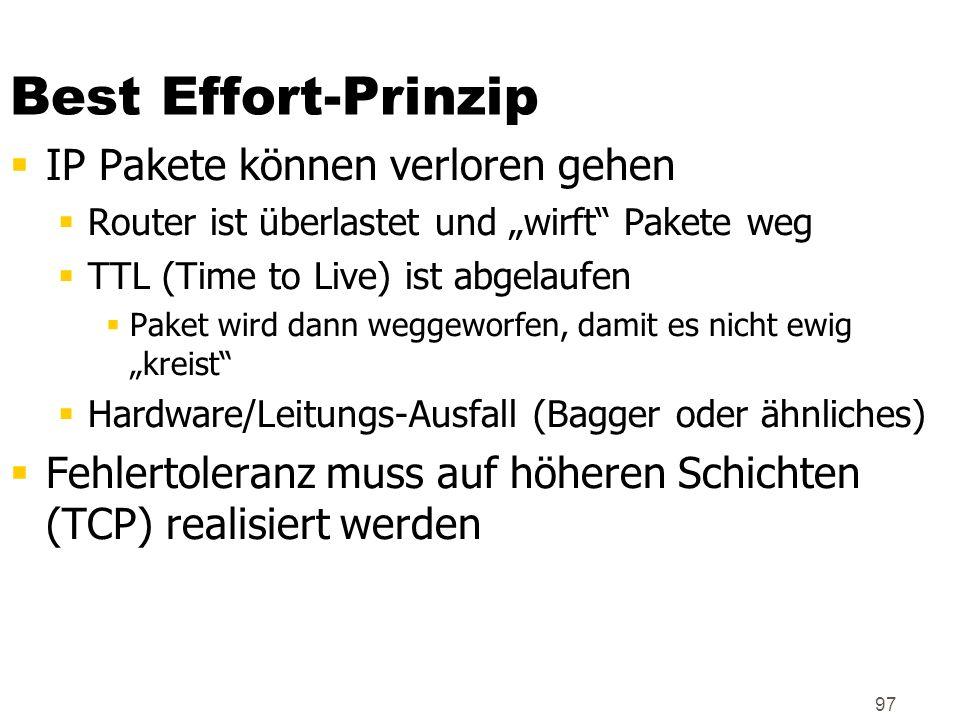 97 Best Effort-Prinzip IP Pakete können verloren gehen Router ist überlastet und wirft Pakete weg TTL (Time to Live) ist abgelaufen Paket wird dann we