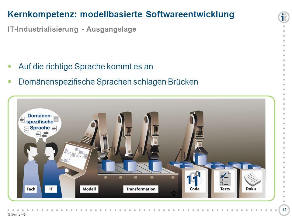 © itemis AG Auf die richtige Sprache kommt es an Domänenspezifische Sprachen schlagen Brücken Kernkompetenz: modellbasierte Softwareentwicklung IT-Ind