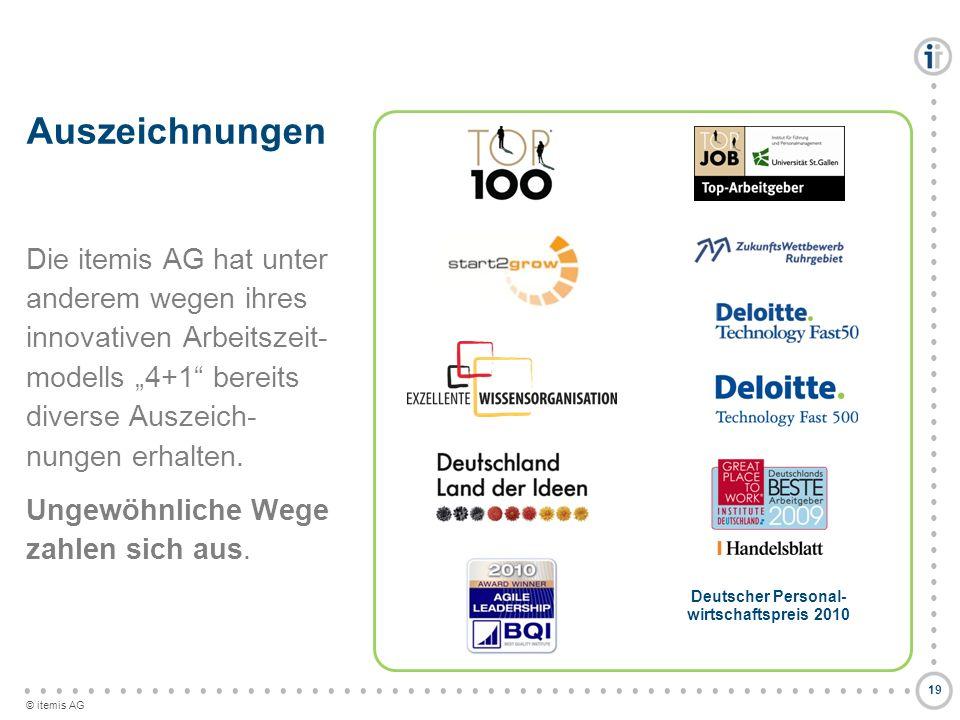 © itemis AG Auszeichnungen Die itemis AG hat unter anderem wegen ihres innovativen Arbeitszeit- modells 4+1 bereits diverse Auszeich- nungen erhalten.