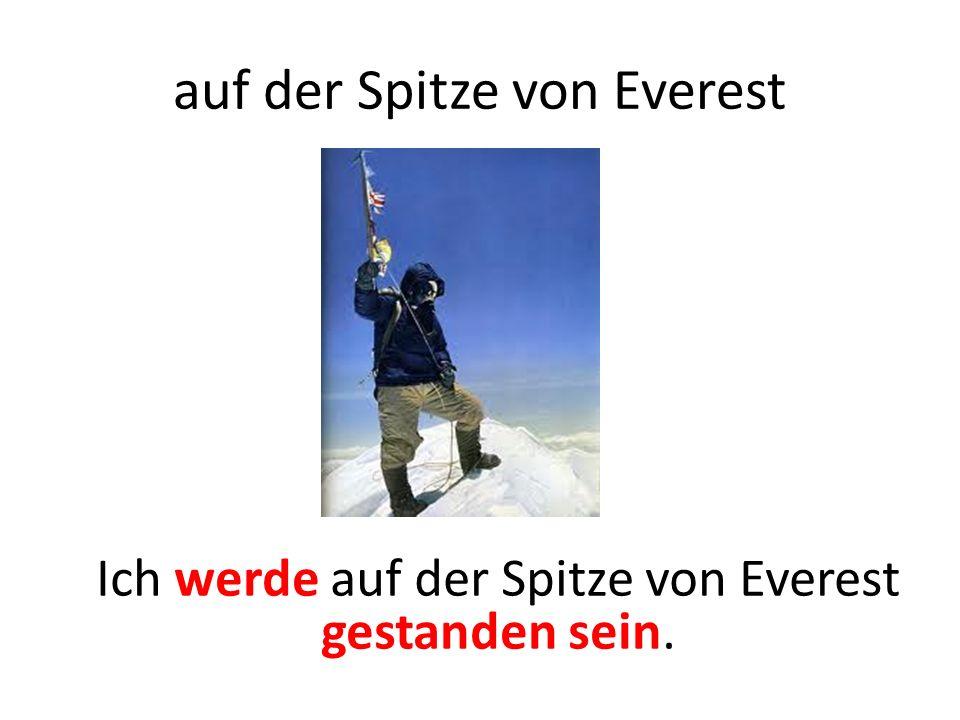 auf der Spitze von Everest Ich werde auf der Spitze von Everest gestanden sein.