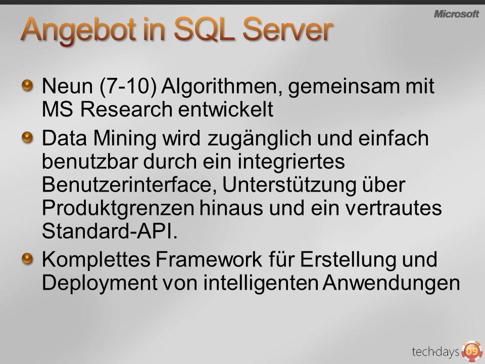 Neun (7-10) Algorithmen, gemeinsam mit MS Research entwickelt Data Mining wird zugänglich und einfach benutzbar durch ein integriertes Benutzerinterfa