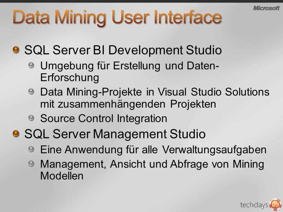 SQL Server BI Development Studio Umgebung für Erstellung und Daten- Erforschung Data Mining-Projekte in Visual Studio Solutions mit zusammenhängenden