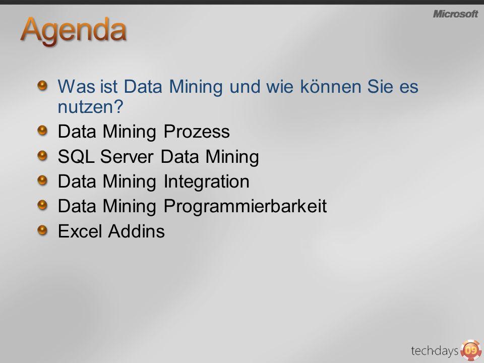 Was ist Data Mining und wie können Sie es nutzen? Data Mining Prozess SQL Server Data Mining Data Mining Integration Data Mining Programmierbarkeit Ex