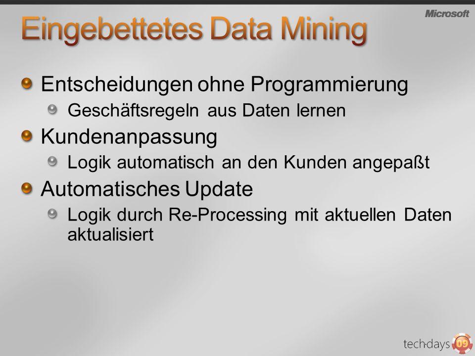 Entscheidungen ohne Programmierung Geschäftsregeln aus Daten lernen Kundenanpassung Logik automatisch an den Kunden angepaßt Automatisches Update Logi