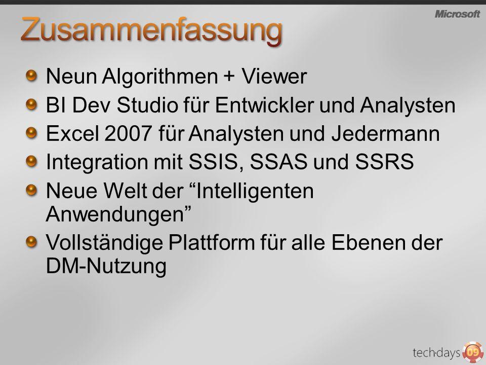 Neun Algorithmen + Viewer BI Dev Studio für Entwickler und Analysten Excel 2007 für Analysten und Jedermann Integration mit SSIS, SSAS und SSRS Neue W
