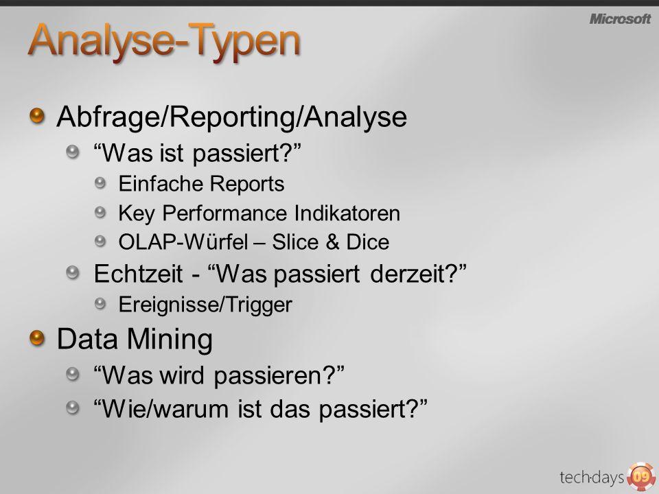 Abfrage/Reporting/Analyse Was ist passiert? Einfache Reports Key Performance Indikatoren OLAP-Würfel – Slice & Dice Echtzeit - Was passiert derzeit? E