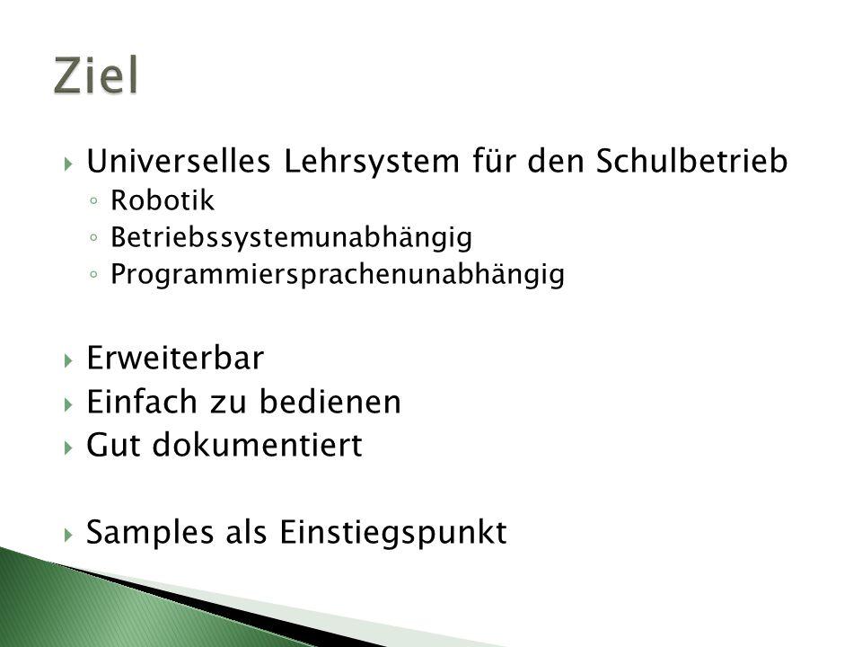 Universelles Lehrsystem für den Schulbetrieb Robotik Betriebssystemunabhängig Programmiersprachenunabhängig Erweiterbar Einfach zu bedienen Gut dokume