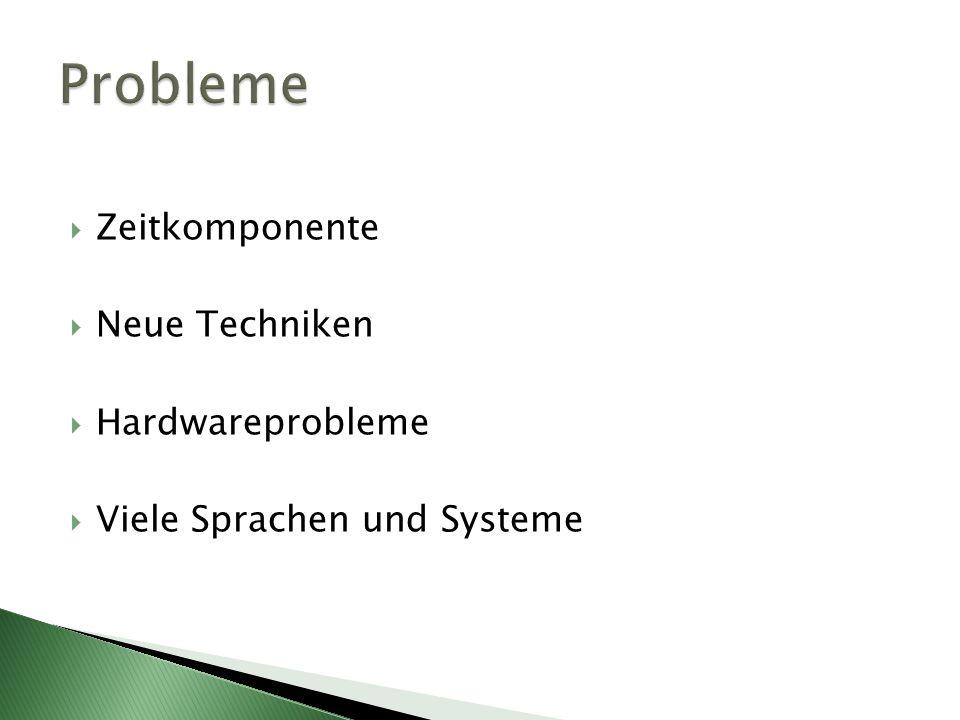 Zeitkomponente Neue Techniken Hardwareprobleme Viele Sprachen und Systeme