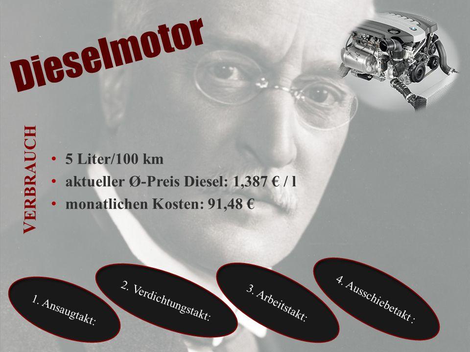 Dieselmotor 5 Liter/100 km aktueller Ø-Preis Diesel: 1,387 / l monatlichen Kosten: 91,48 3. Arbeitstakt: 4. Ausschiebetakt : 2. Verdichtungstakt: 1. A