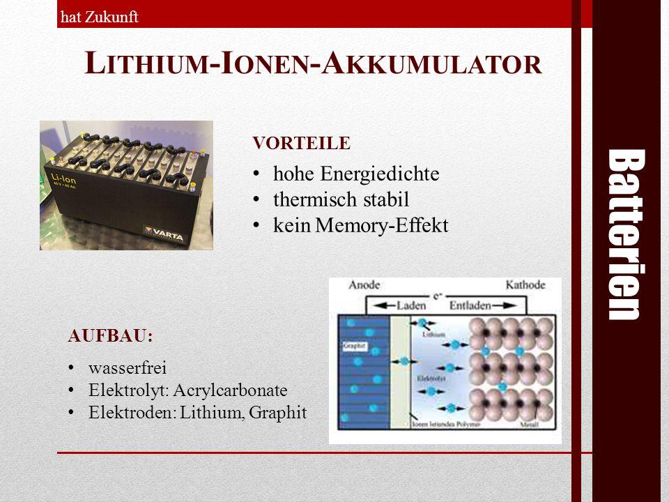 L ITHIUM -I ONEN -A KKUMULATOR hat Zukunft AUFBAU: wasserfrei Elektrolyt: Acrylcarbonate Elektroden: Lithium, Graphit VORTEILE hohe Energiedichte ther