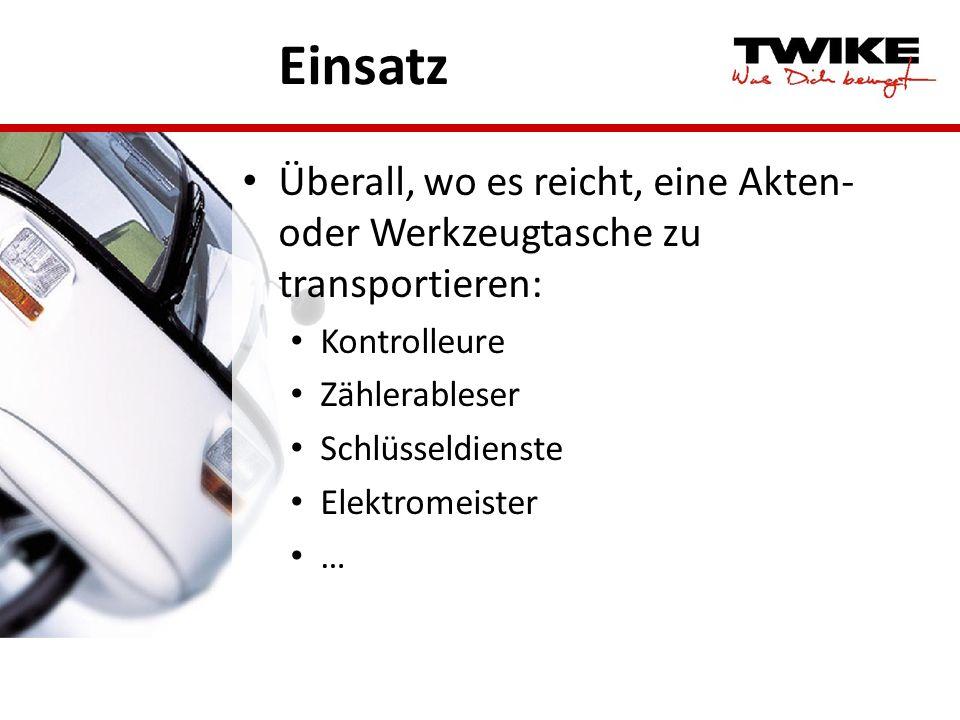 Einsatz Überall, wo es reicht, eine Akten- oder Werkzeugtasche zu transportieren: Kontrolleure Zählerableser Schlüsseldienste Elektromeister …