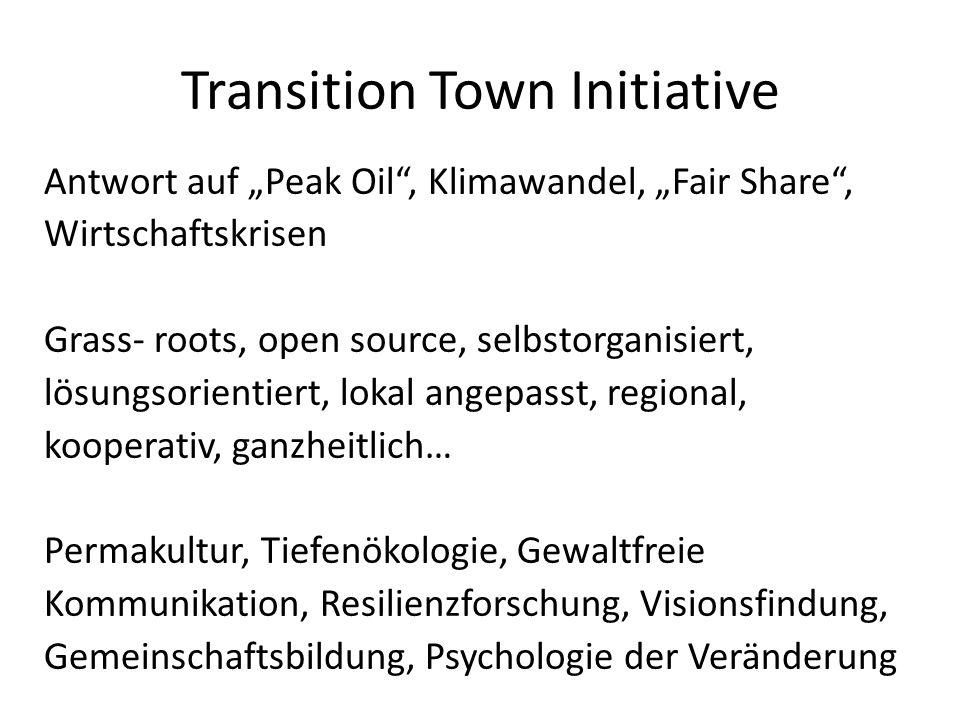 Antwort auf Peak Oil, Klimawandel, Fair Share, Wirtschaftskrisen Grass- roots, open source, selbstorganisiert, lösungsorientiert, lokal angepasst, regional, kooperativ, ganzheitlich… Permakultur, Tiefenökologie, Gewaltfreie Kommunikation, Resilienzforschung, Visionsfindung, Gemeinschaftsbildung, Psychologie der Veränderung