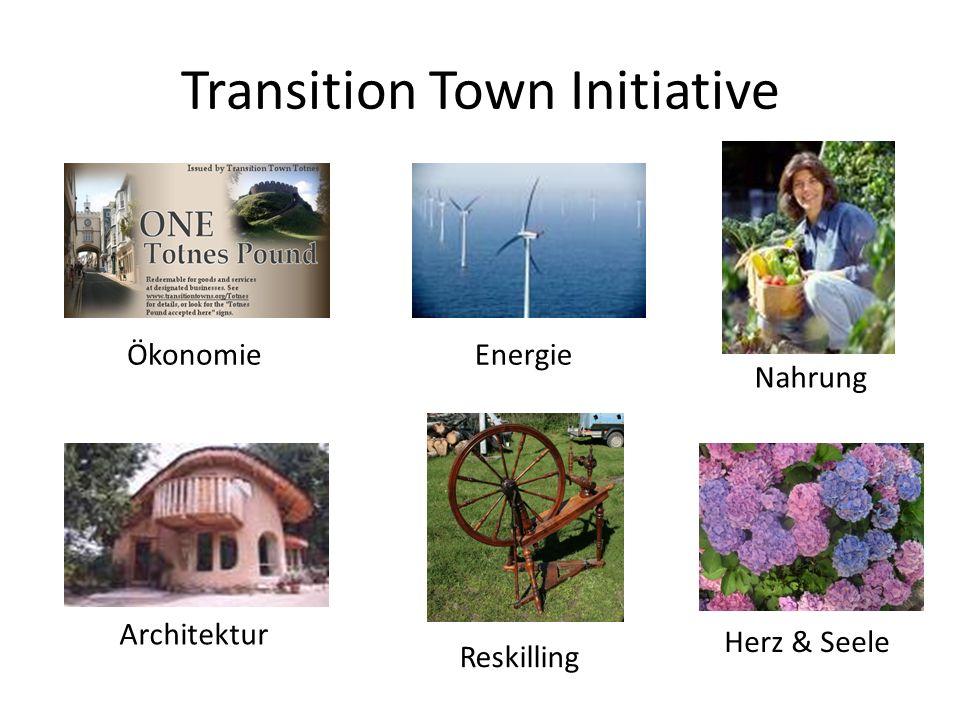 Transition Town Initiative Bewusstseinsbildung Gemeinschaftsbildung Transition Streets Regionalwährungen Bürgereigene Stromerzeugung Community Supported Agriculture Zusammenarbeit mit Lokalpolitik Studien zu den Themen Öl & Energie Etc.