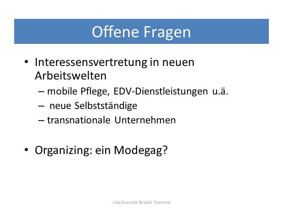 Offene Fragen Interessensvertretung in neuen Arbeitswelten – mobile Pflege, EDV-Dienstleistungen u.ä.