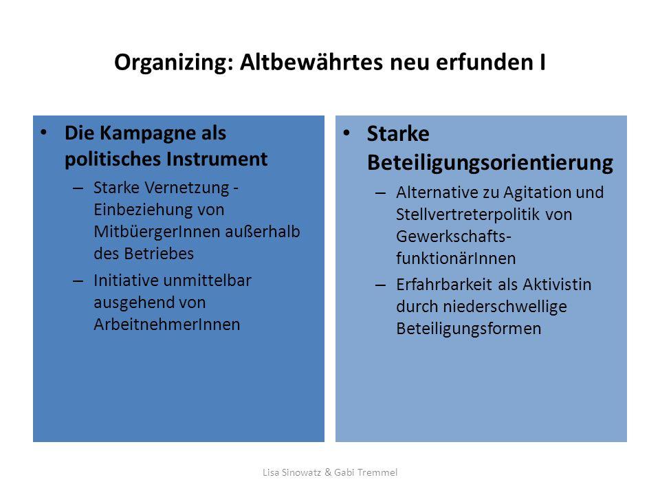 Organizing: Altbewährtes neu erfunden I Die Kampagne als politisches Instrument – Starke Vernetzung - Einbeziehung von MitbüergerInnen außerhalb des B