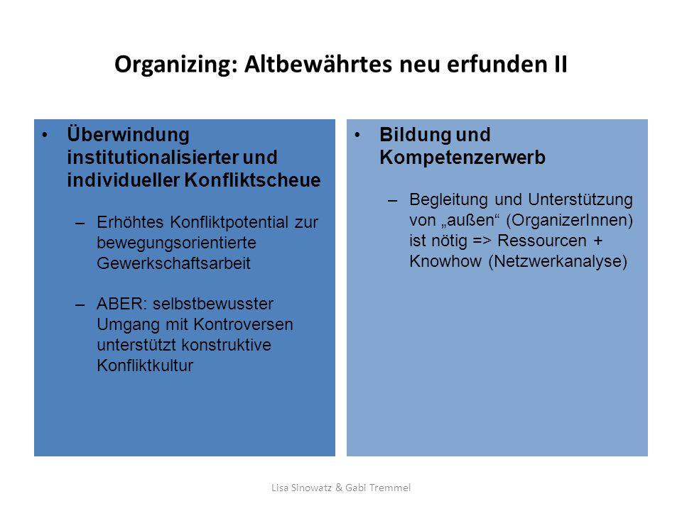 Organizing: Altbewährtes neu erfunden II Bildung und Kompetenzerwerb –Begleitung und Unterstützung von außen (OrganizerInnen) ist nötig => Ressourcen