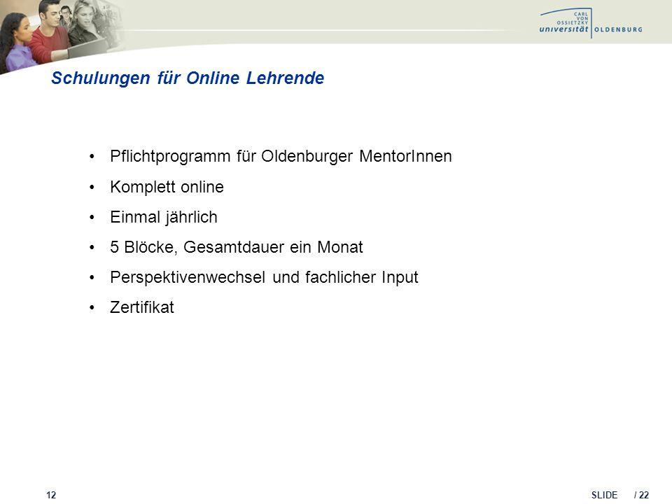 SLIDE / 22 Schulungen für Online Lehrende 12 Pflichtprogramm für Oldenburger MentorInnen Komplett online Einmal jährlich 5 Blöcke, Gesamtdauer ein Mon