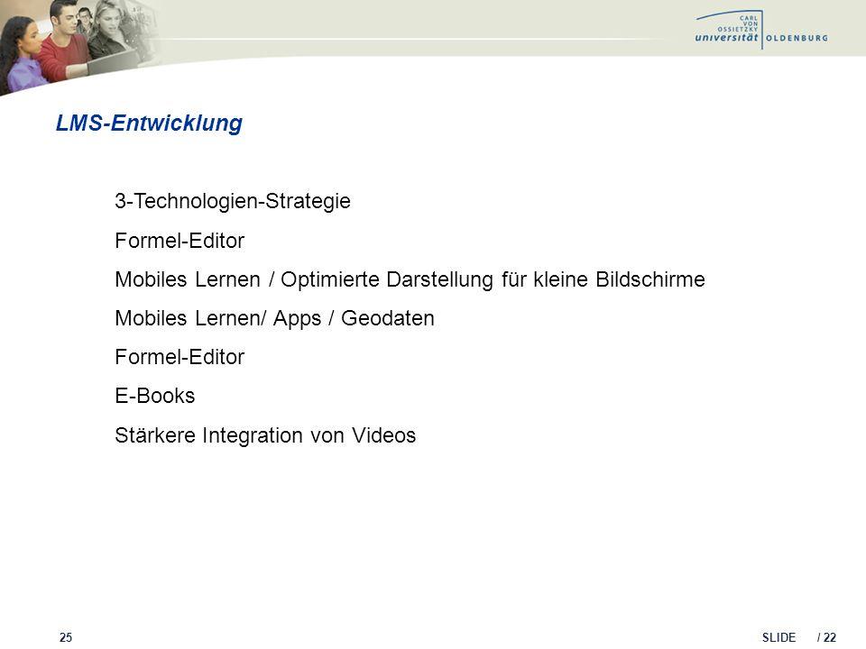 SLIDE / 22 LMS-Entwicklung 25 3-Technologien-Strategie Formel-Editor Mobiles Lernen / Optimierte Darstellung für kleine Bildschirme Mobiles Lernen/ Ap
