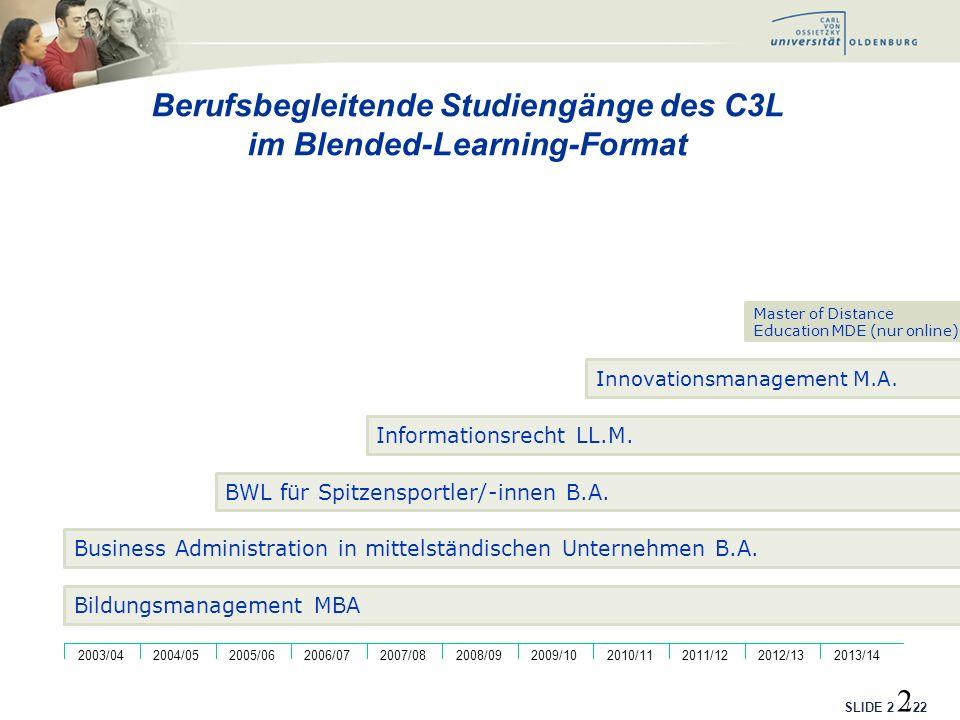 SLIDE / 22 2 2 2003/042004/052005/062006/072007/082008/092009/102010/112011/122012/132013/14 Bildungsmanagement MBA Business Administration in mittels
