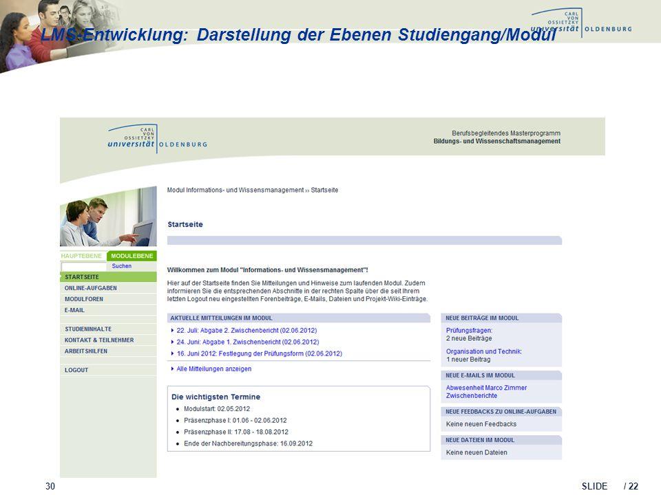 SLIDE / 22 LMS-Entwicklung: Darstellung der Ebenen Studiengang/Modul 30