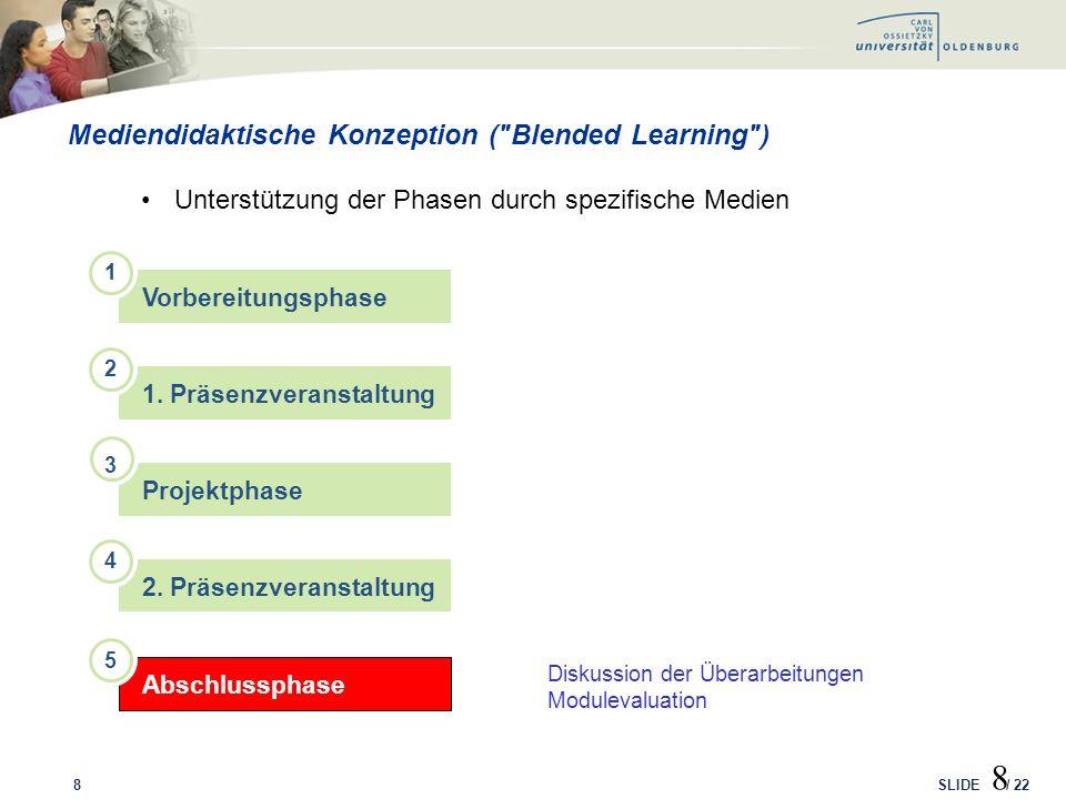 SLIDE / 22 LMS-Entwicklung: Darstellung der Ebenen Studiengang/Modul 29
