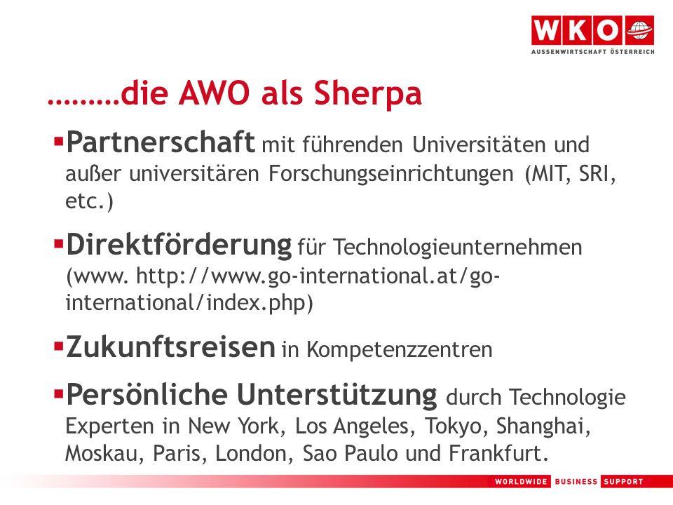 15 ………die AWO als Sherpa Partnerschaft mit führenden Universitäten und außer universitären Forschungseinrichtungen (MIT, SRI, etc.) Direktförderung fü