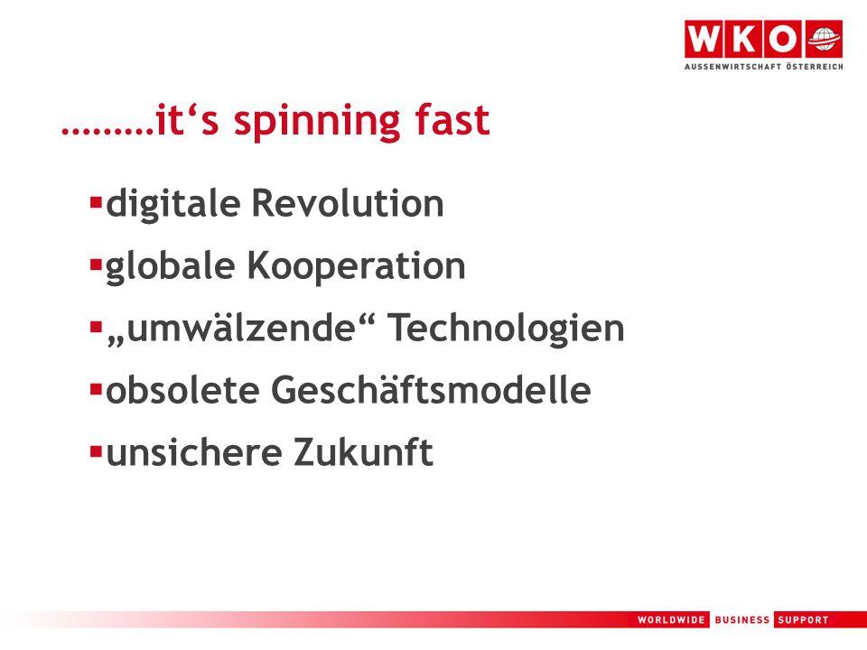 2 ………its spinning fast digitale Revolution globale Kooperation umwälzende Technologien obsolete Geschäftsmodelle unsichere Zukunft