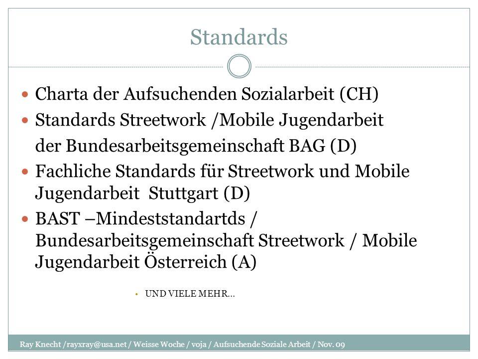 Standards Ray Knecht /rayxray@usa.net / Weisse Woche / voja / Aufsuchende Soziale Arbeit / Nov. 09 Charta der Aufsuchenden Sozialarbeit (CH) Standards