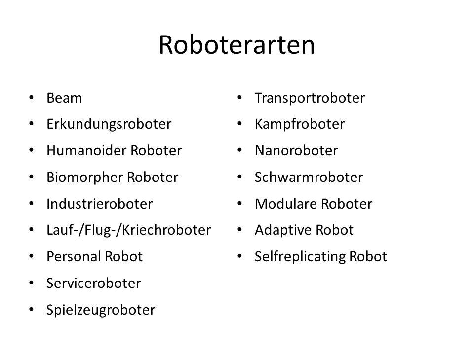 Roboterarten Beam Erkundungsroboter Humanoider Roboter Biomorpher Roboter Industrieroboter Lauf-/Flug-/Kriechroboter Personal Robot Serviceroboter Spi