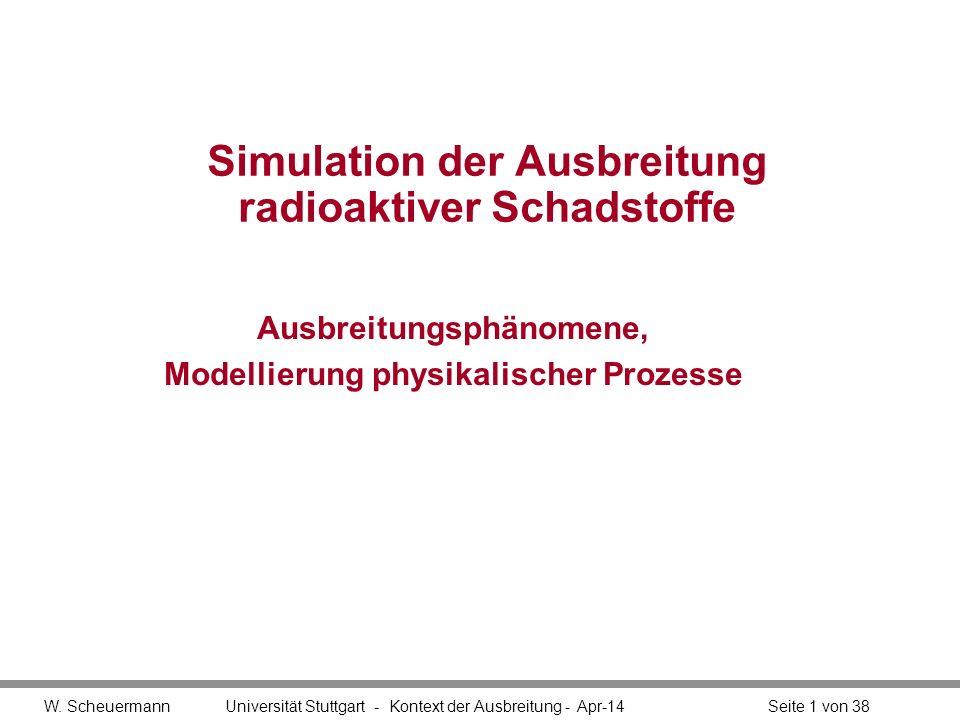 W. Scheuermann Universität Stuttgart - Kontext der Ausbreitung - Apr-14Seite 1 von 38 Simulation der Ausbreitung radioaktiver Schadstoffe Ausbreitungs