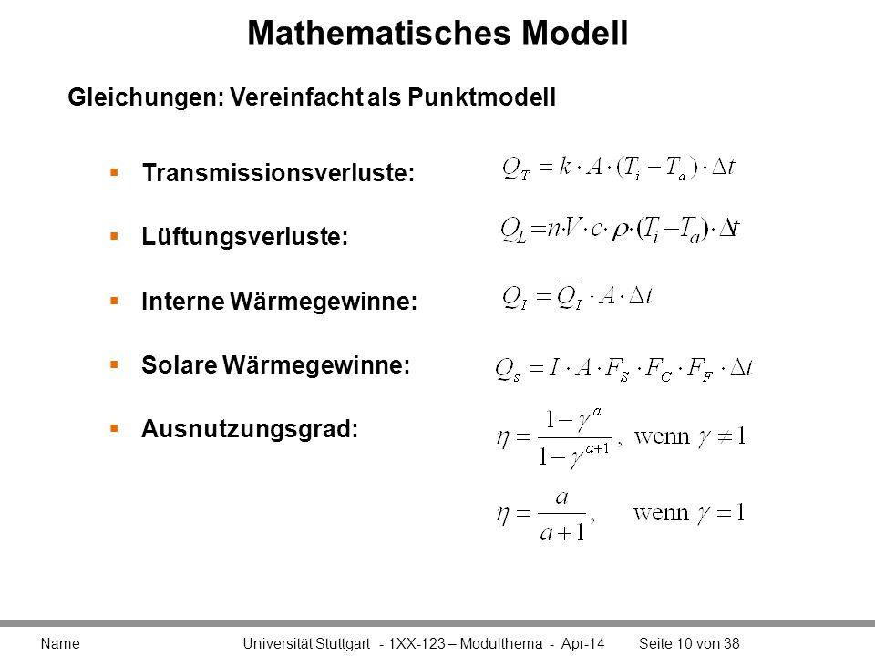 Mathematisches Modell Name Universität Stuttgart - 1XX-123 – Modulthema - Apr-14Seite 10 von 38 Transmissionsverluste: Lüftungsverluste: Interne Wärme